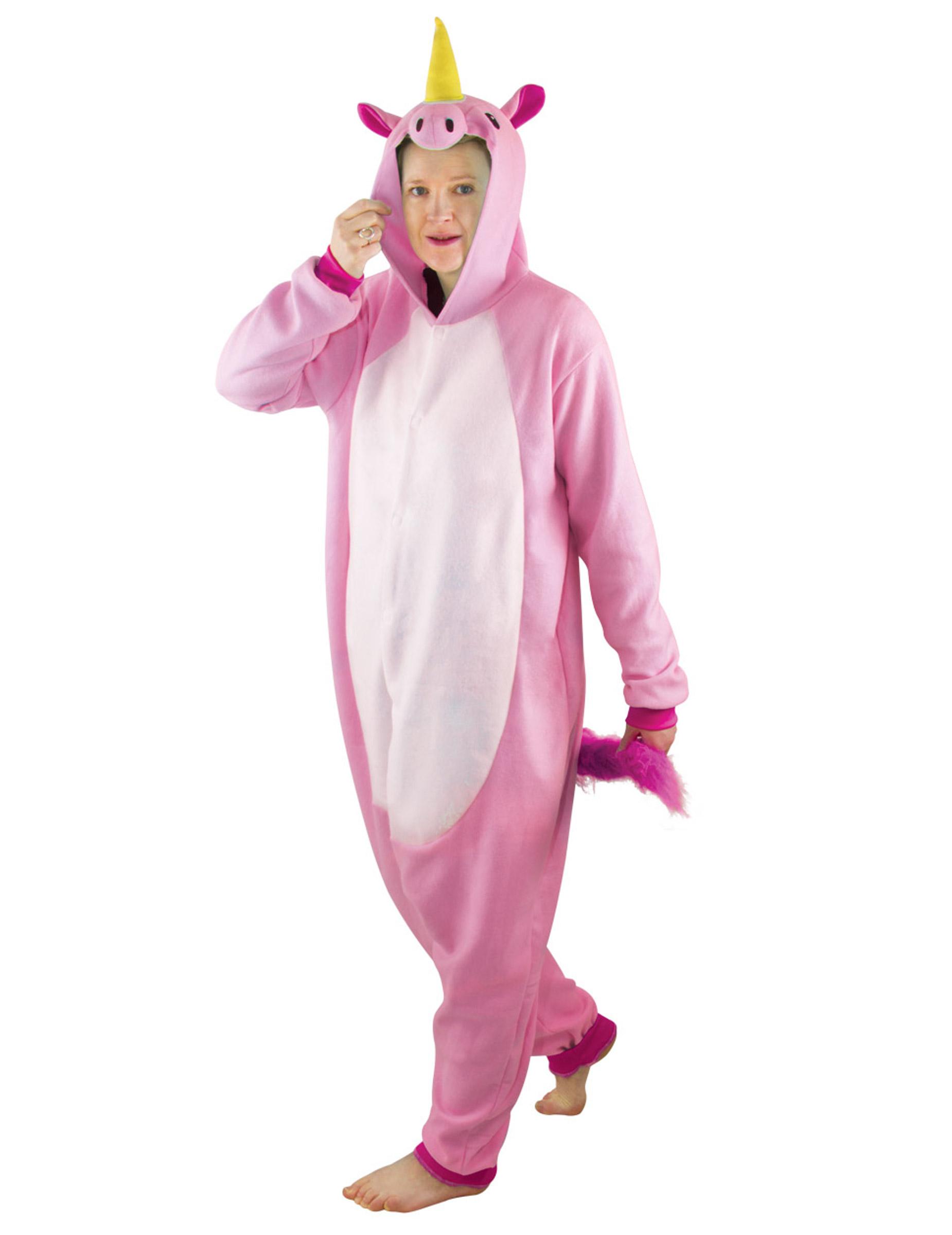 gamma esclusiva chic classico goditi la spedizione in omaggio Costume tuta integrale da unicorno rosa per adulto