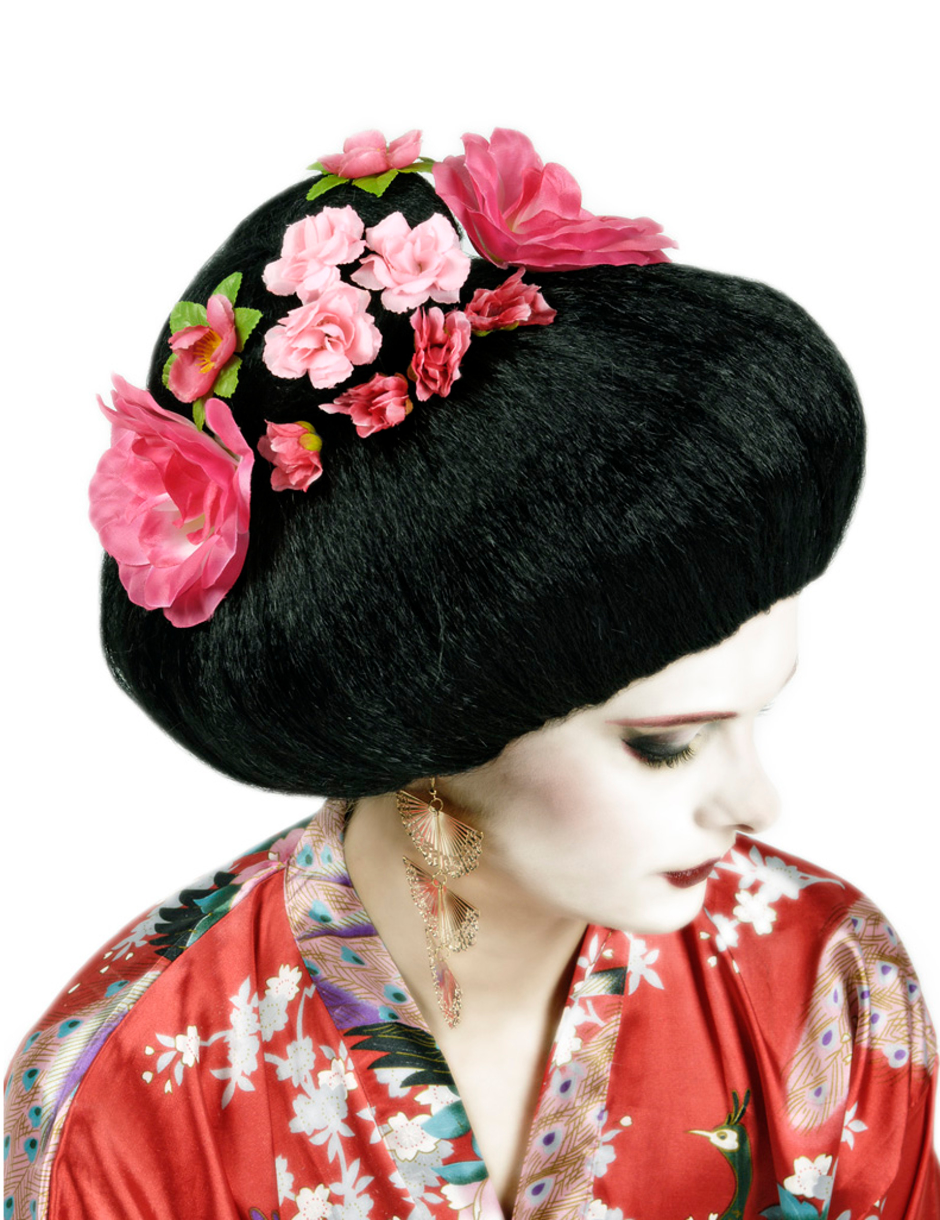 Parrucca cinese capelli neri a fiori rosa per adulto ...