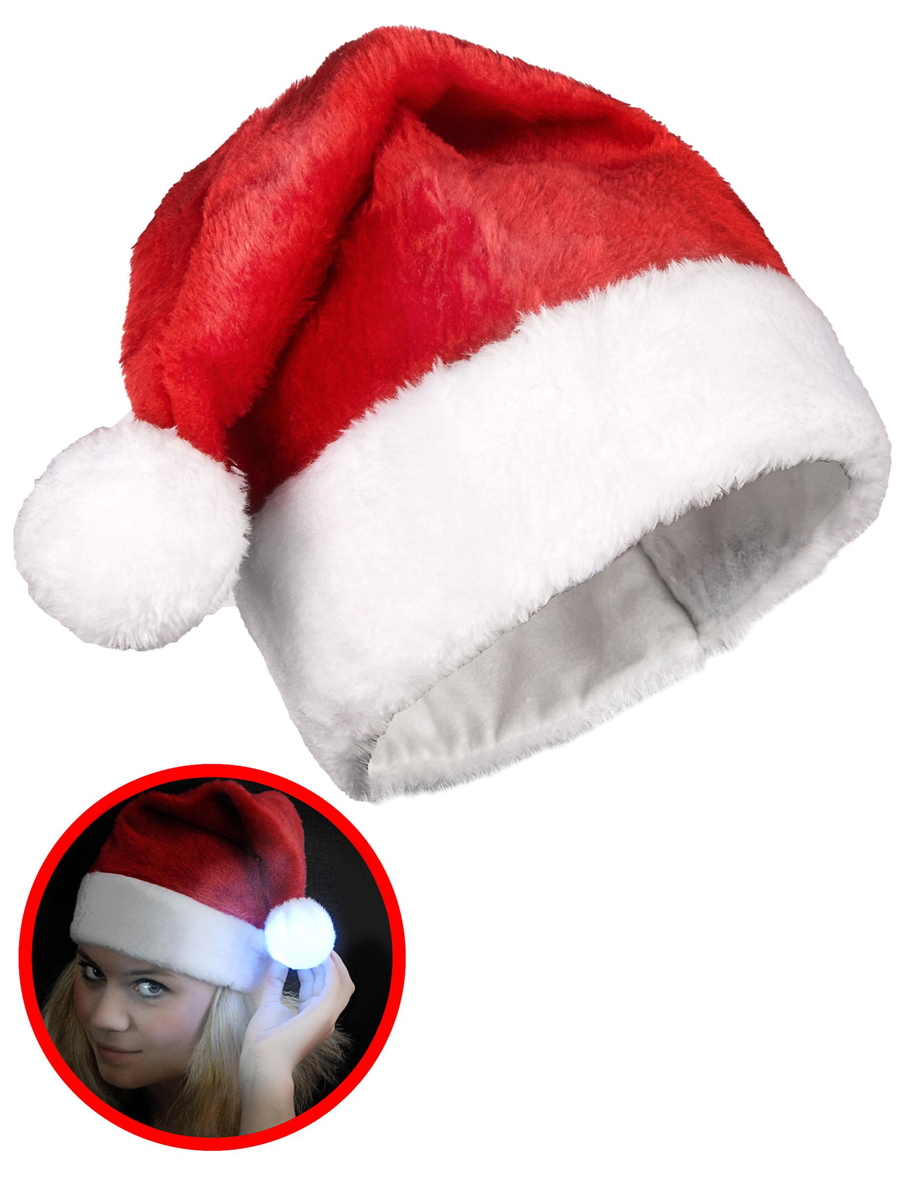 Cappellino di Babbo Natale con pon pon luminoso  Cappelli a2d308b12ff0