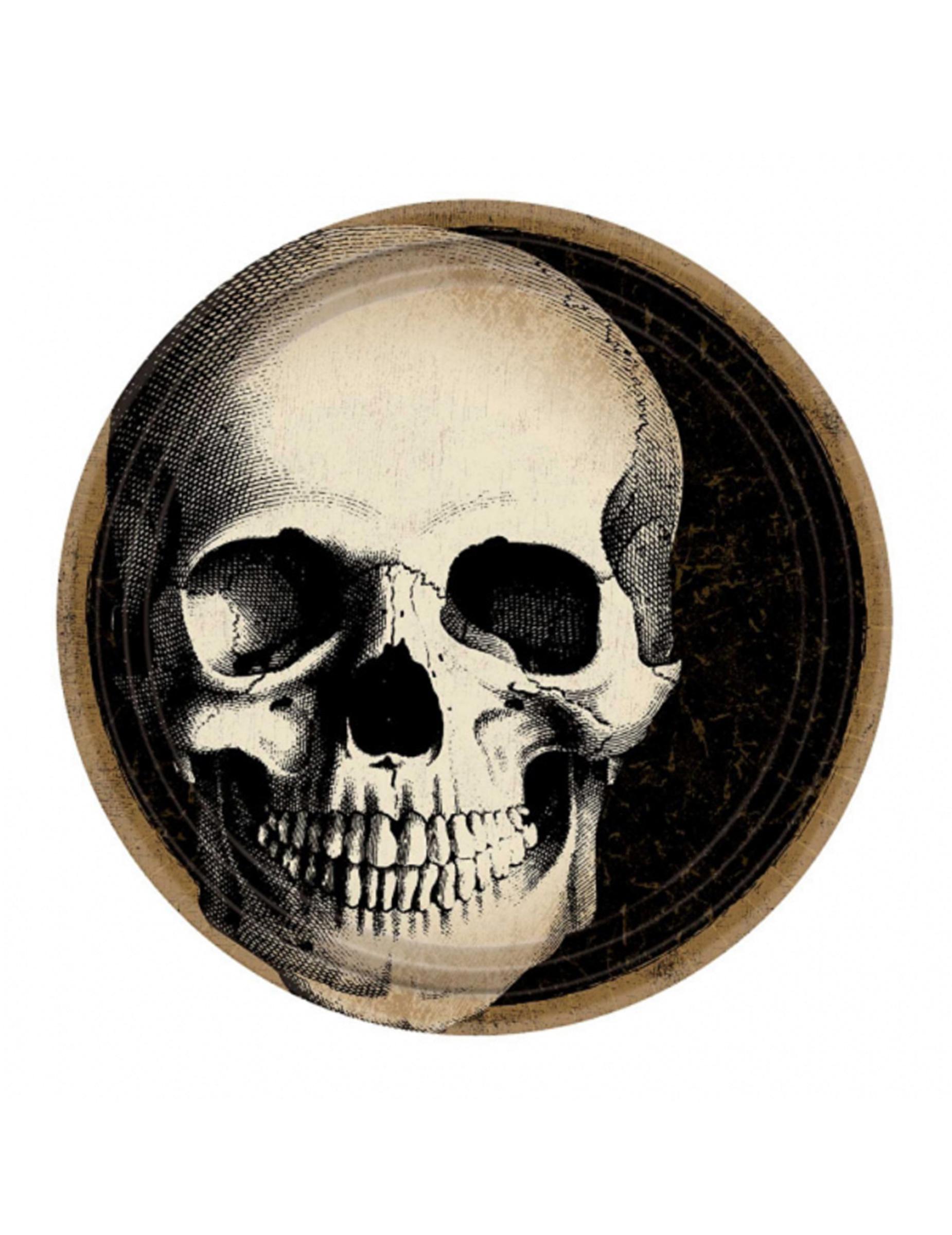 Piatti in cartone con teschio halloween cm addobbi