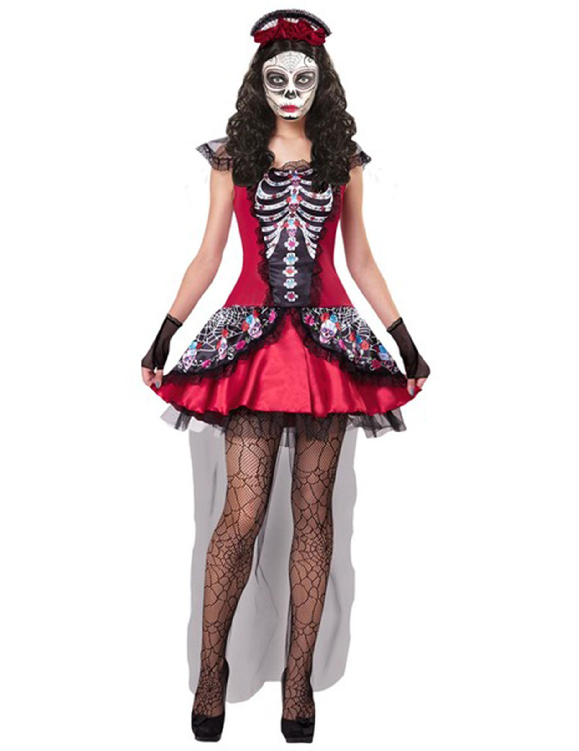Costume da scheletro multicolore per donna dia de los muertos  Costumi  adulti 6c7d84c7532