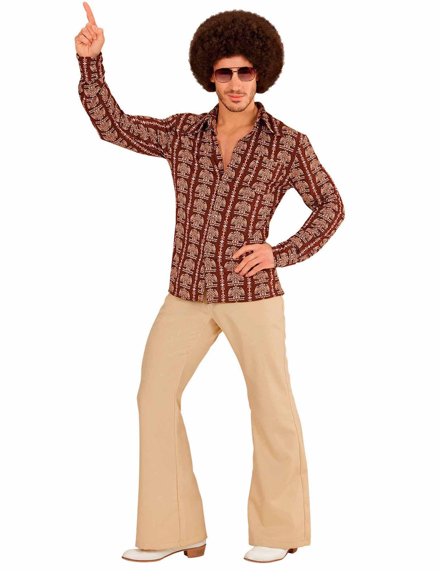Camicia disco anni 70 marrone per uomo