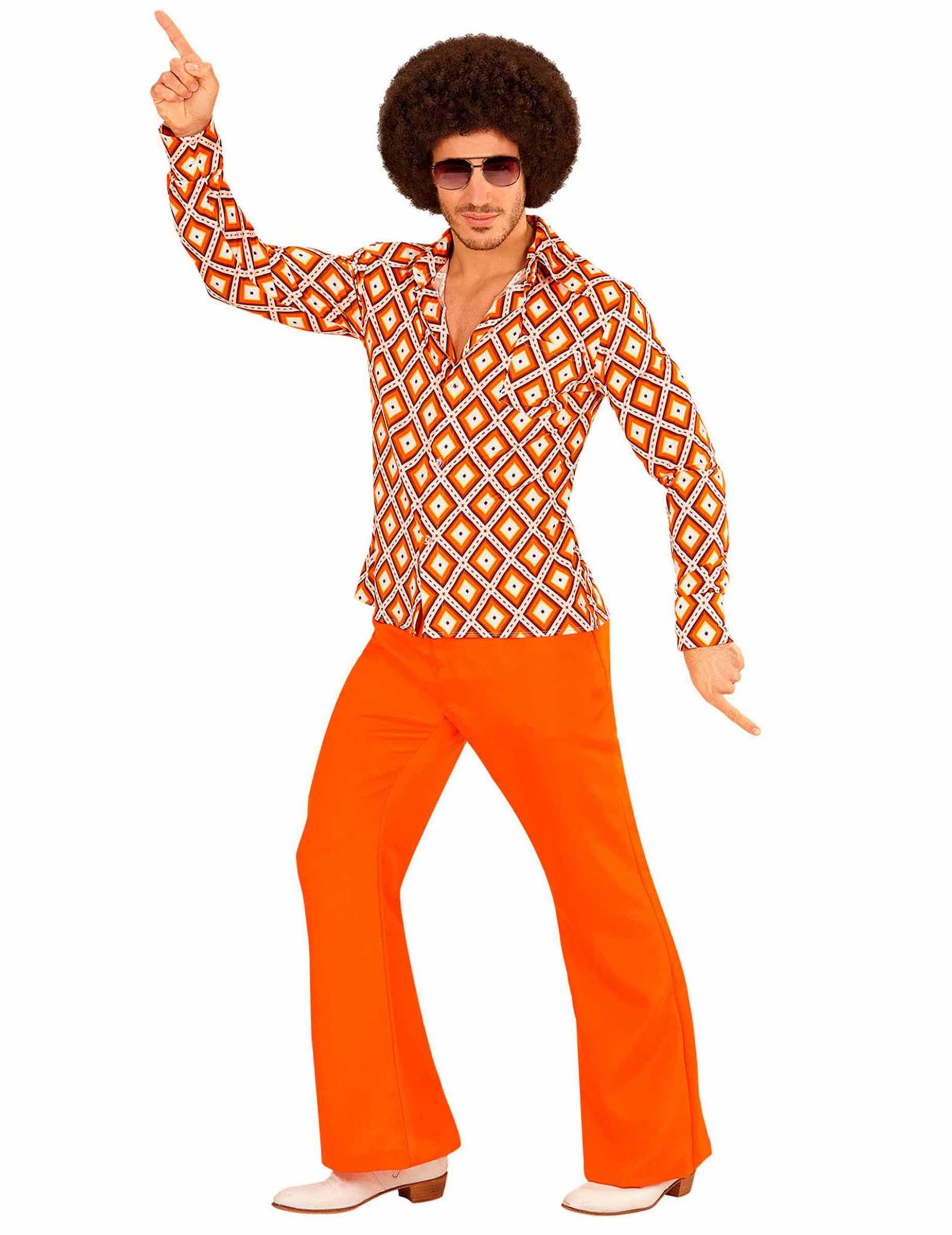 Uomo Anni 70.Camicia Disco Retro Anni 70 Arancione Per Uomo