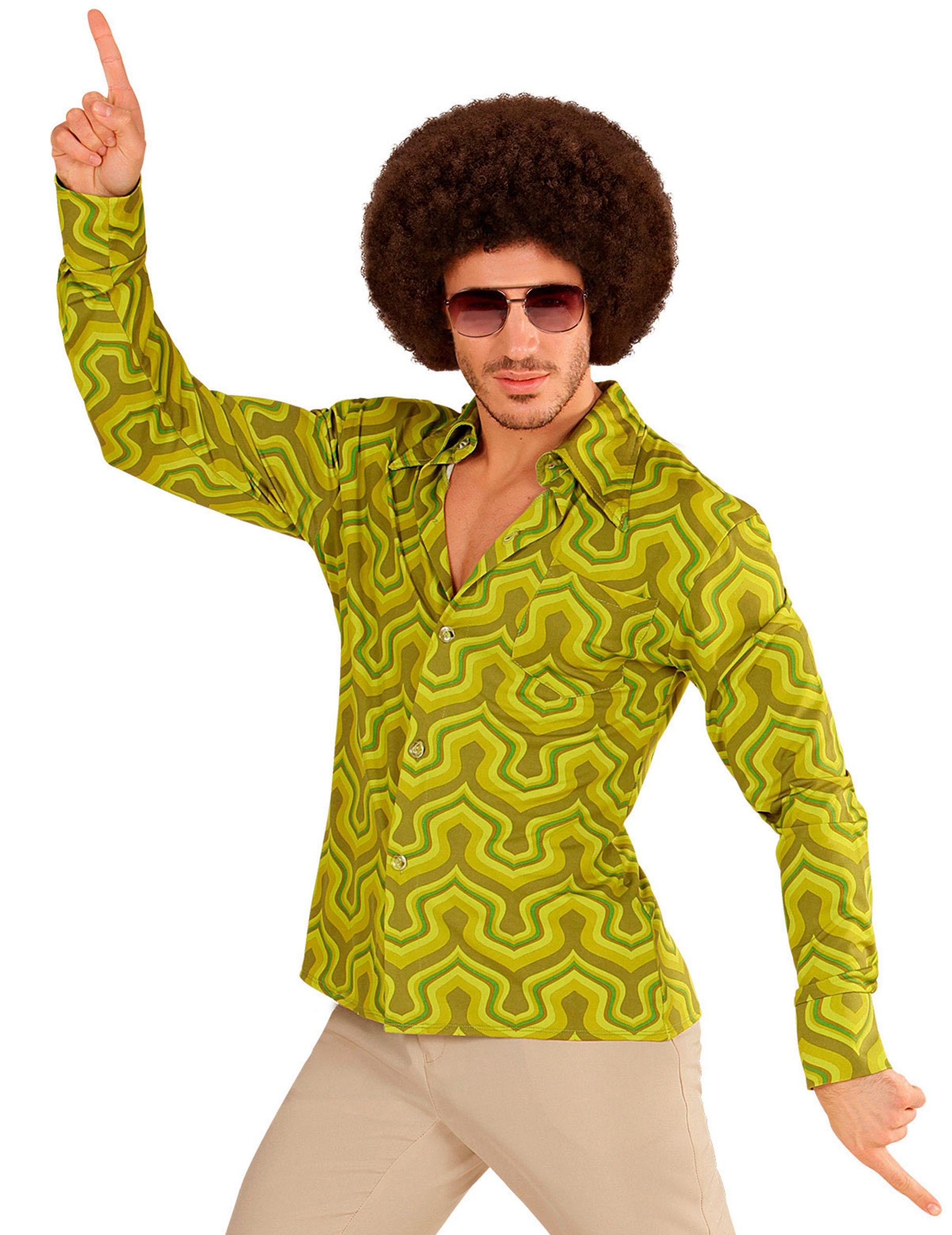 71e96afef569 Camicia verde disco anni 70 per uomo