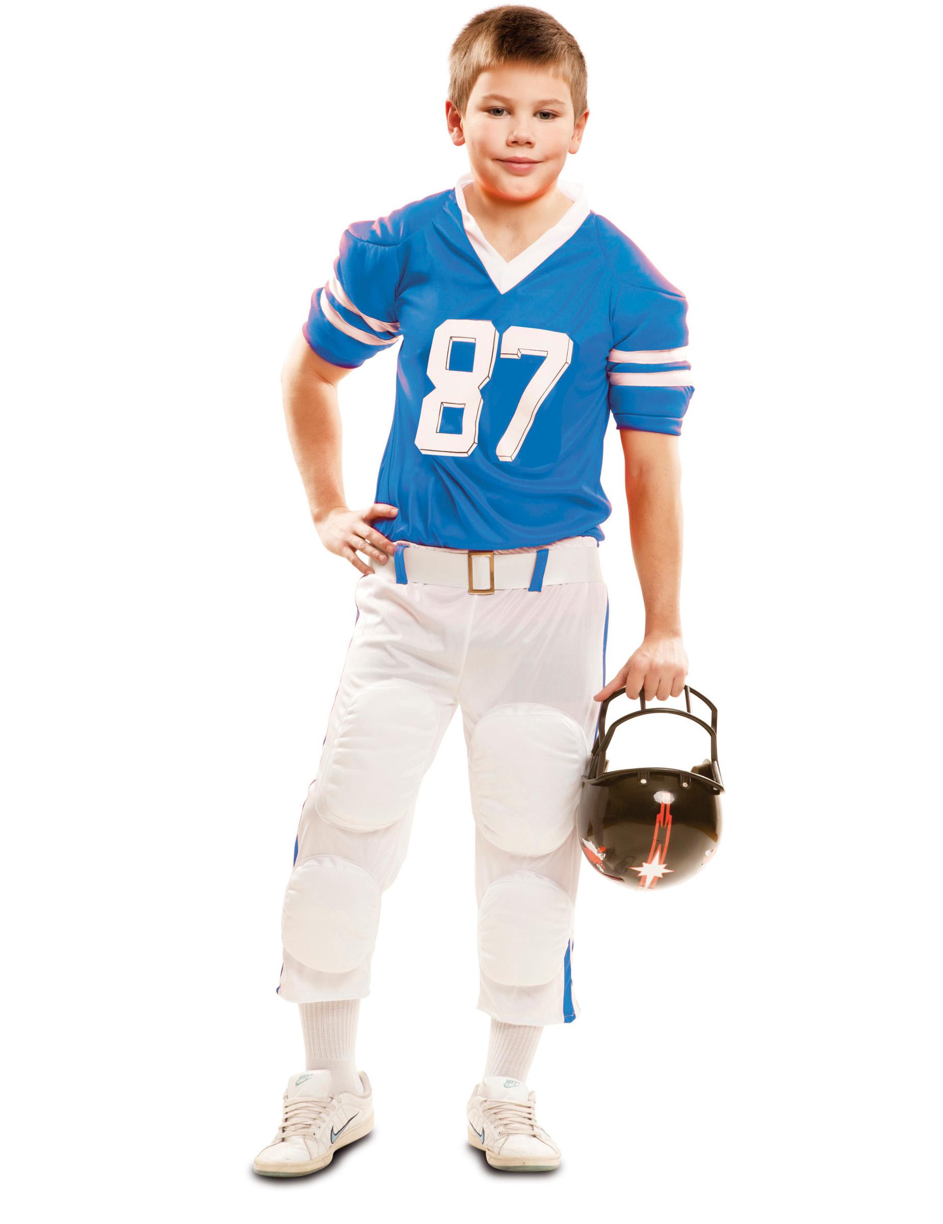 90b56088370a Costume da Giocatore di Football americano blu per bambino: Costumi ...