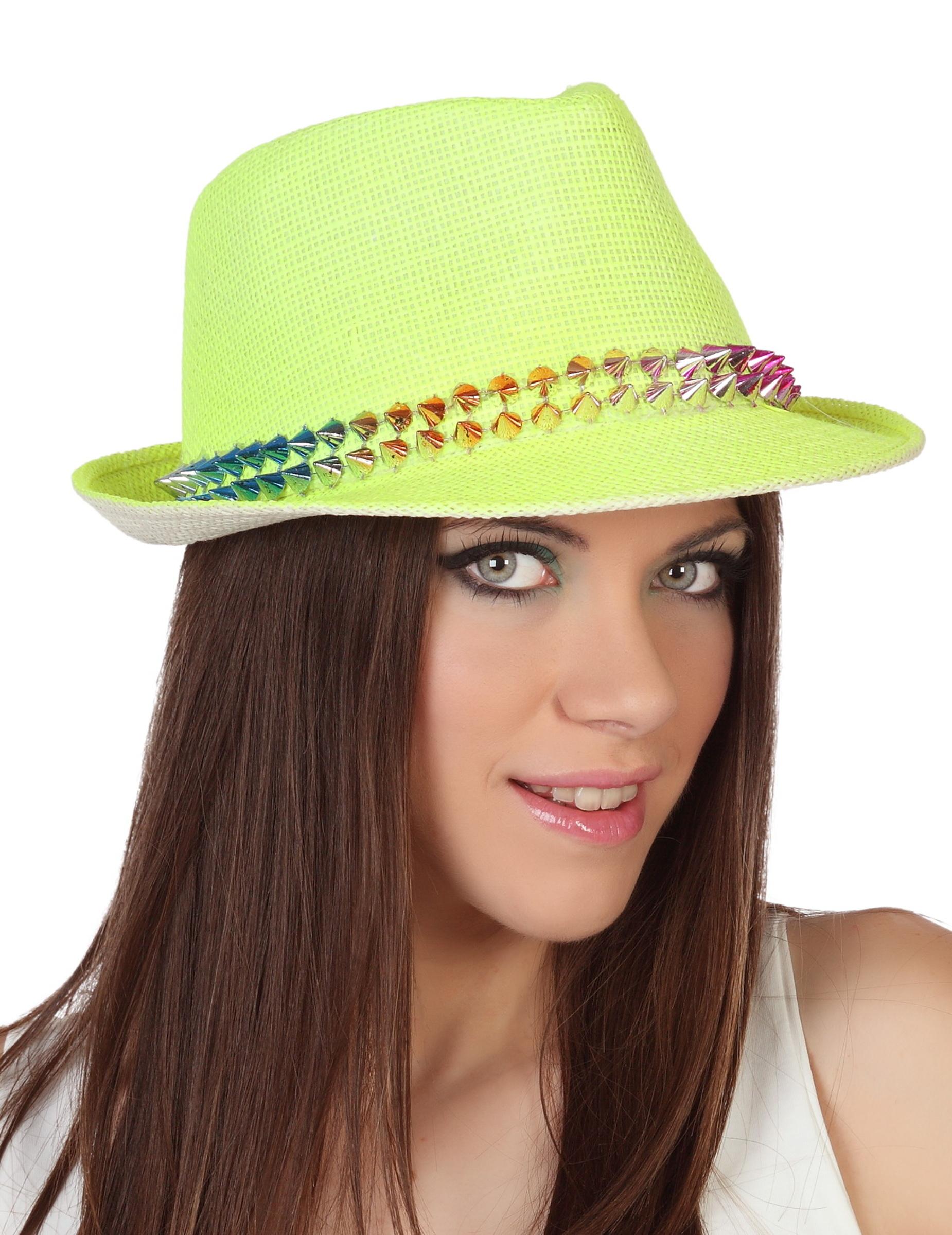 Cappello borsalino giallo con borchie per adulto  Cappelli c94ab3b56593