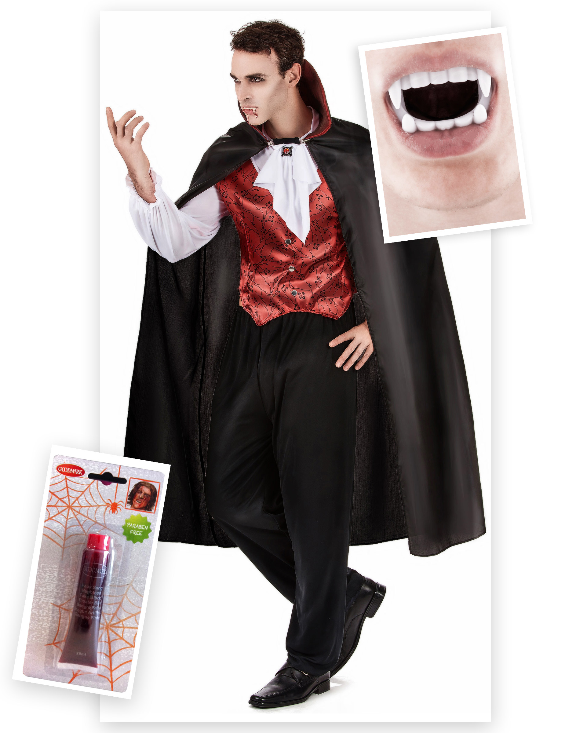 Set costume e accessori da vampiro per uomo halloween  Costumi ... 4df0f75fd2cb