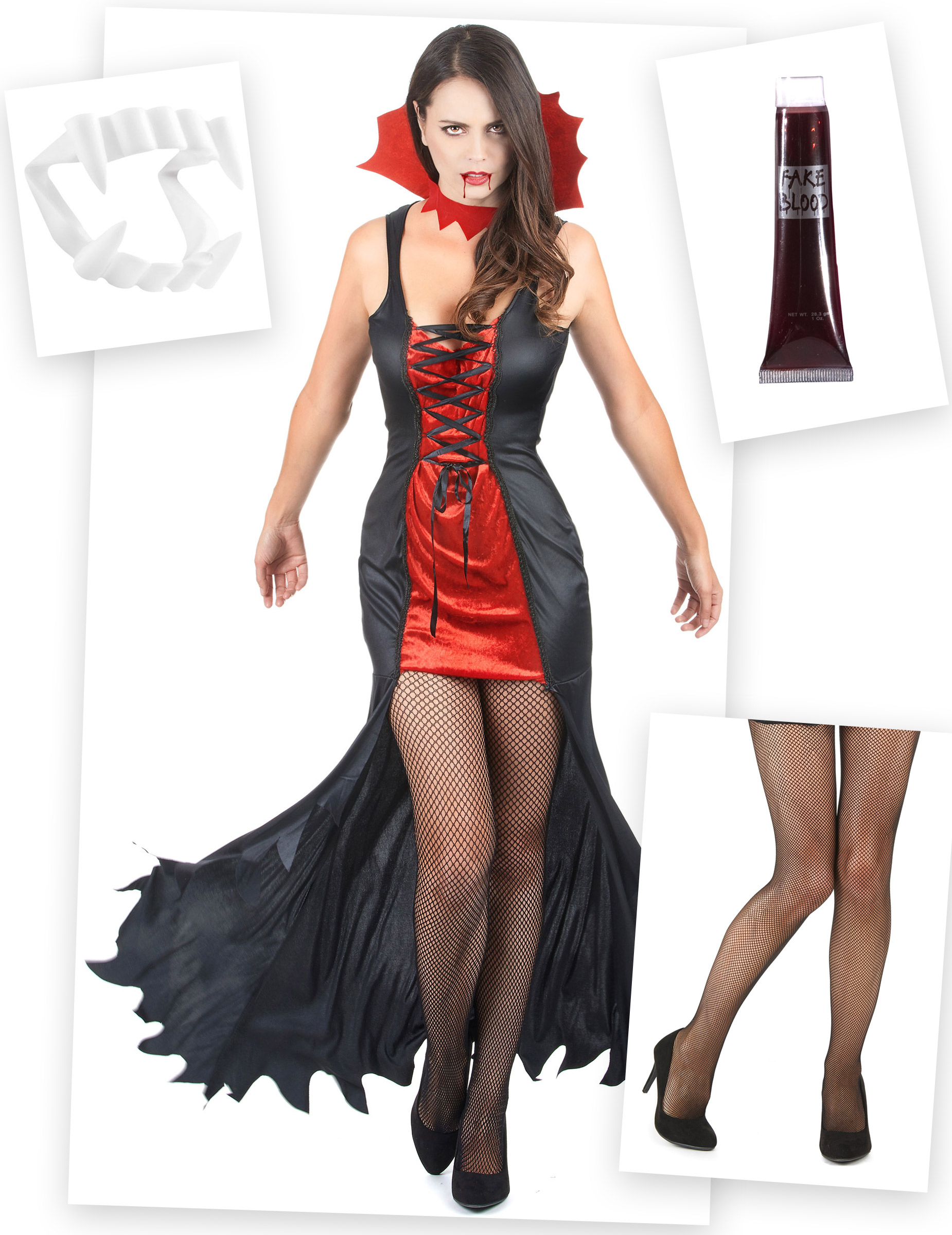 Set costume e accessori da vampiro per donna halloween  Costumi ... 7a5bf83a3b6a
