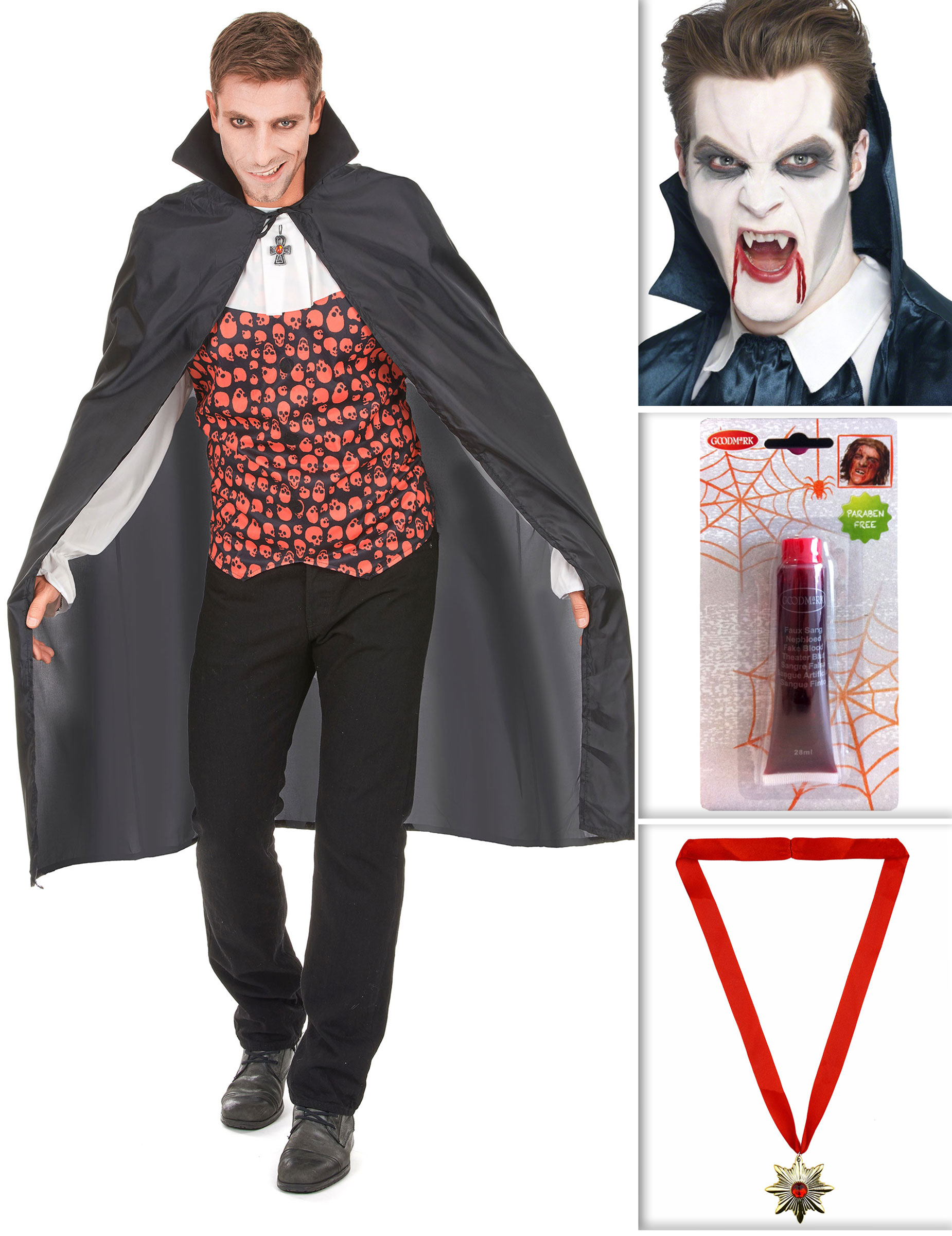 Set costume da vampiro per halloween  Costumi adulti b88e9d559440
