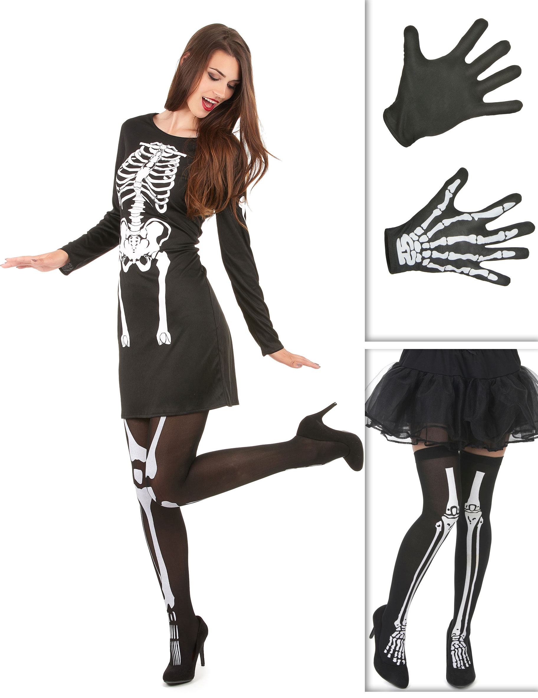Scheletro Halloween Costume Donna Calze