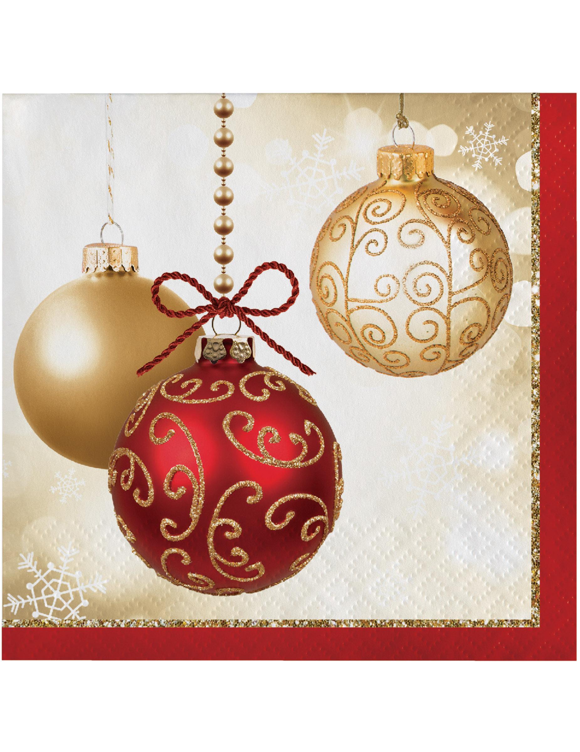 Immagini Palle Di Natale.16 Tovaglioli In Carta Palle Di Natale