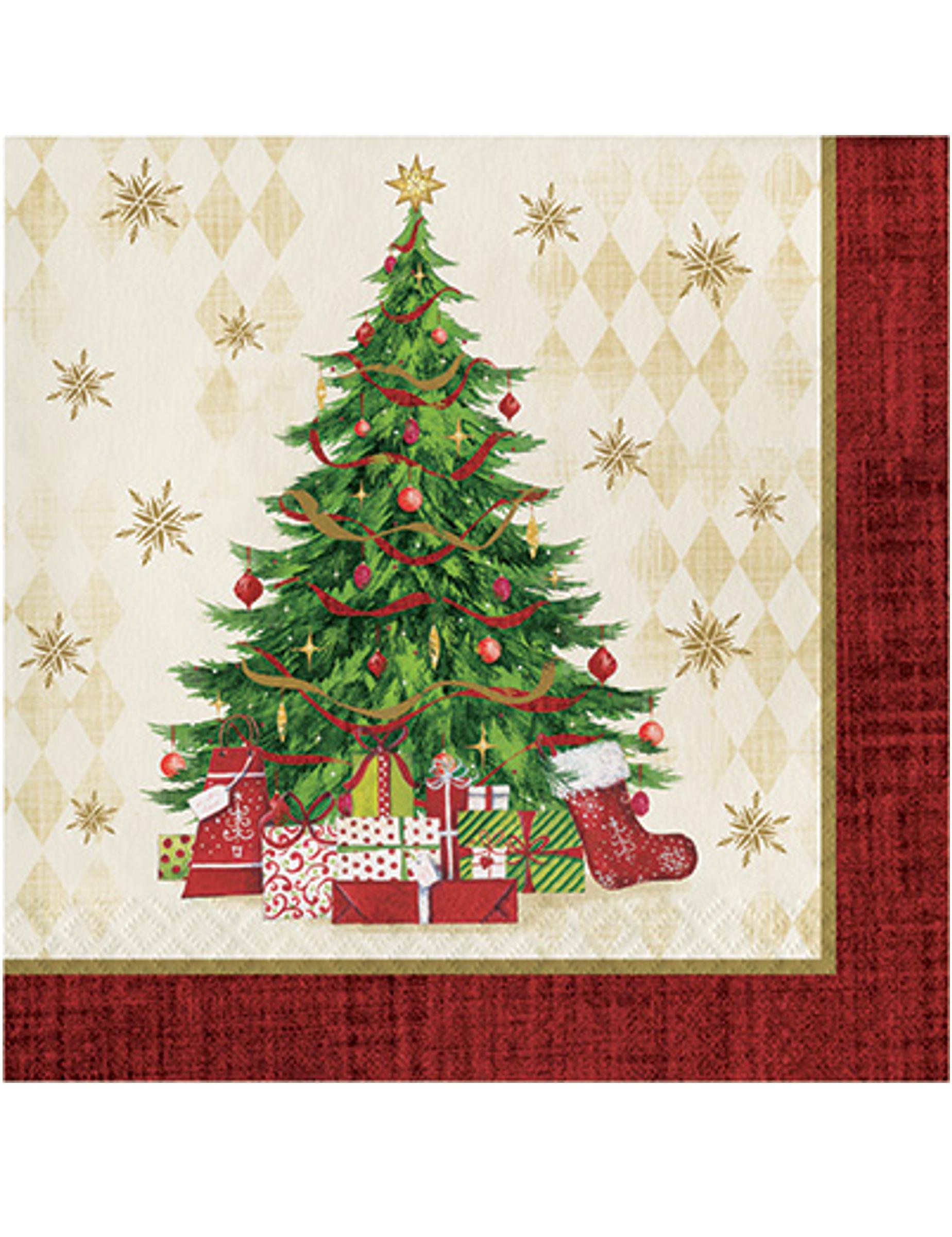 16 Tovaglioli In Carta Con Albero Di Natale Addobbi E Vestiti Di