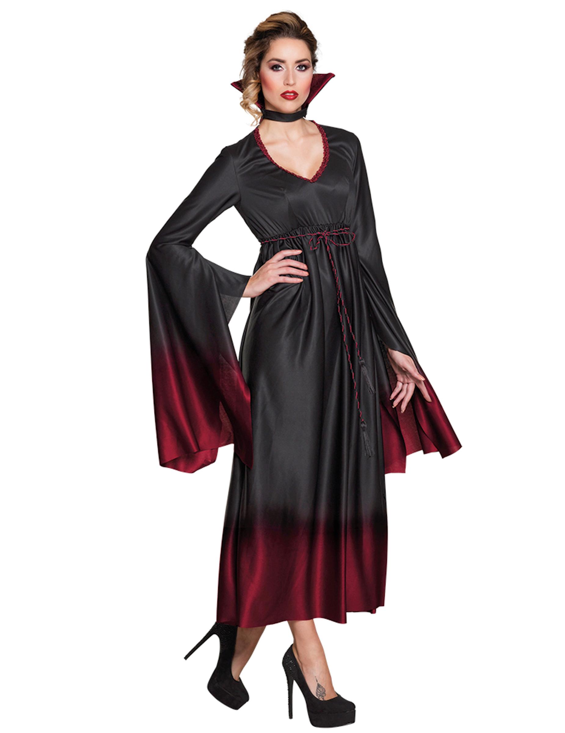 Costume da vampiro nero e rosso sfumato per donna halloween 317df5a980b1