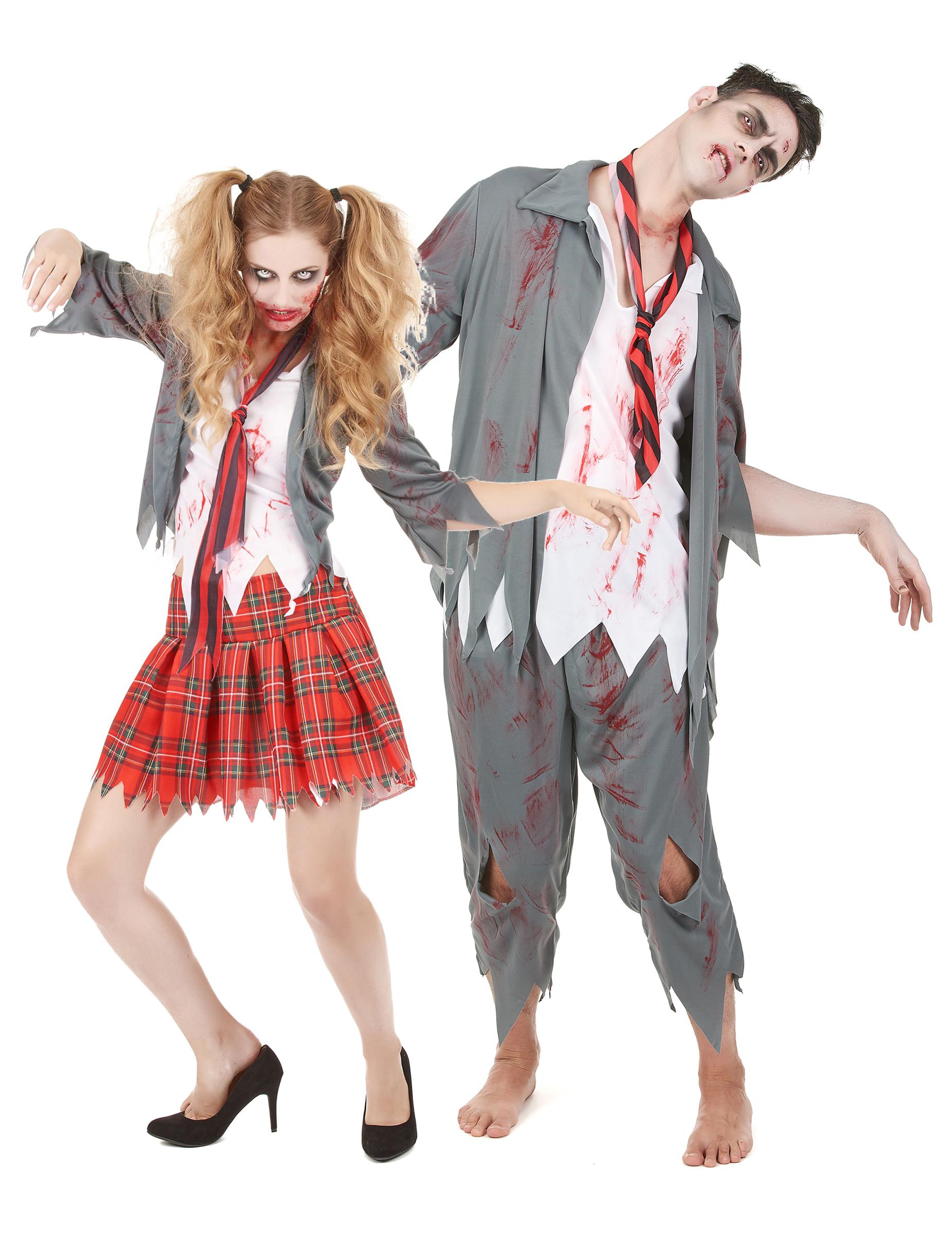Costume da coppia zombie scolari halloween f67fdcc05d8c