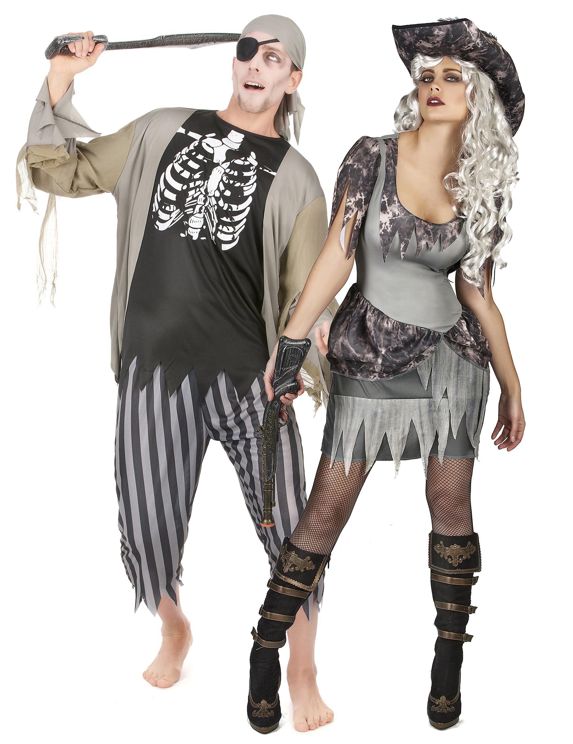 Vestito da pirata zombie halloween di coppia c2f73493ec49