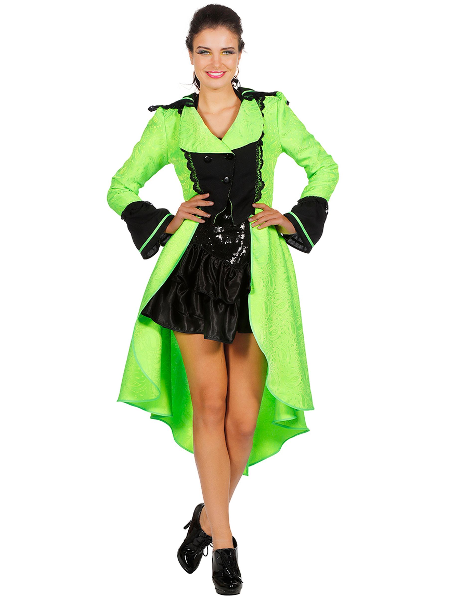 Cappotto vittoriano verde fluo deluxe per donna  Costumi adulti c2ba5a5abd7