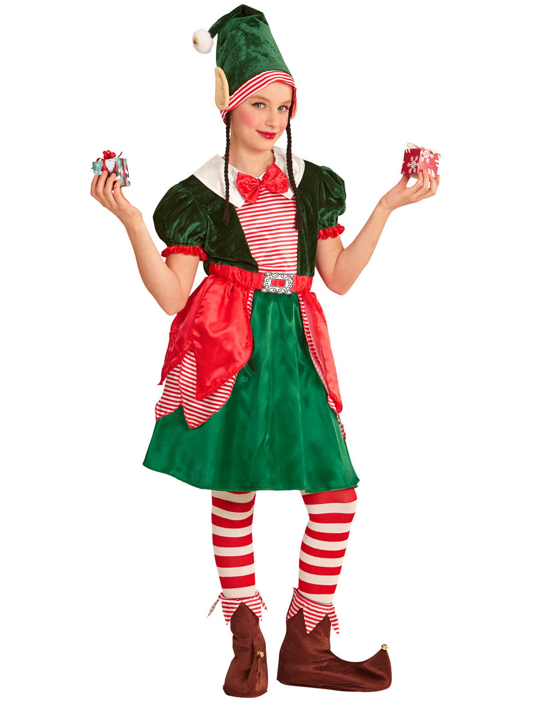 Costume assistente folletto di Natale per bambina  Costumi bambini 09a5b69376db