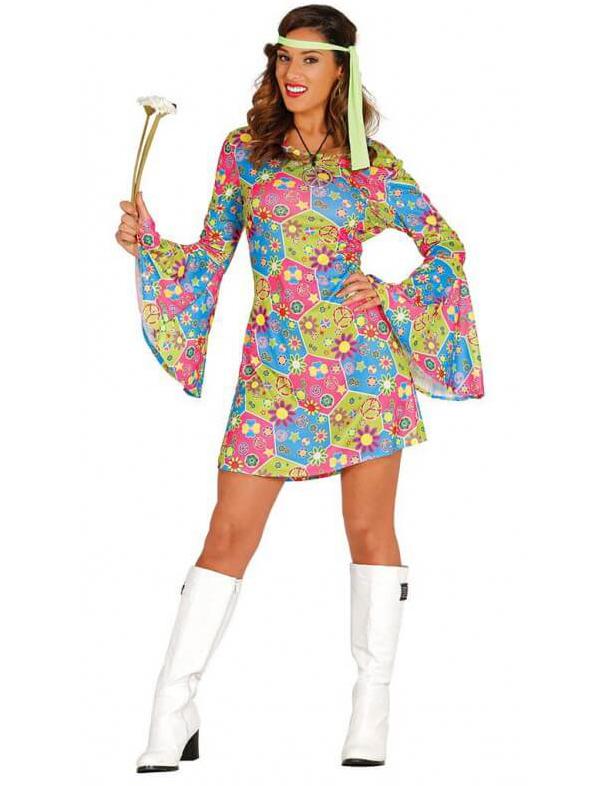 595201366480 Costume da hippie con simboli colorati per donna  Costumi adulti