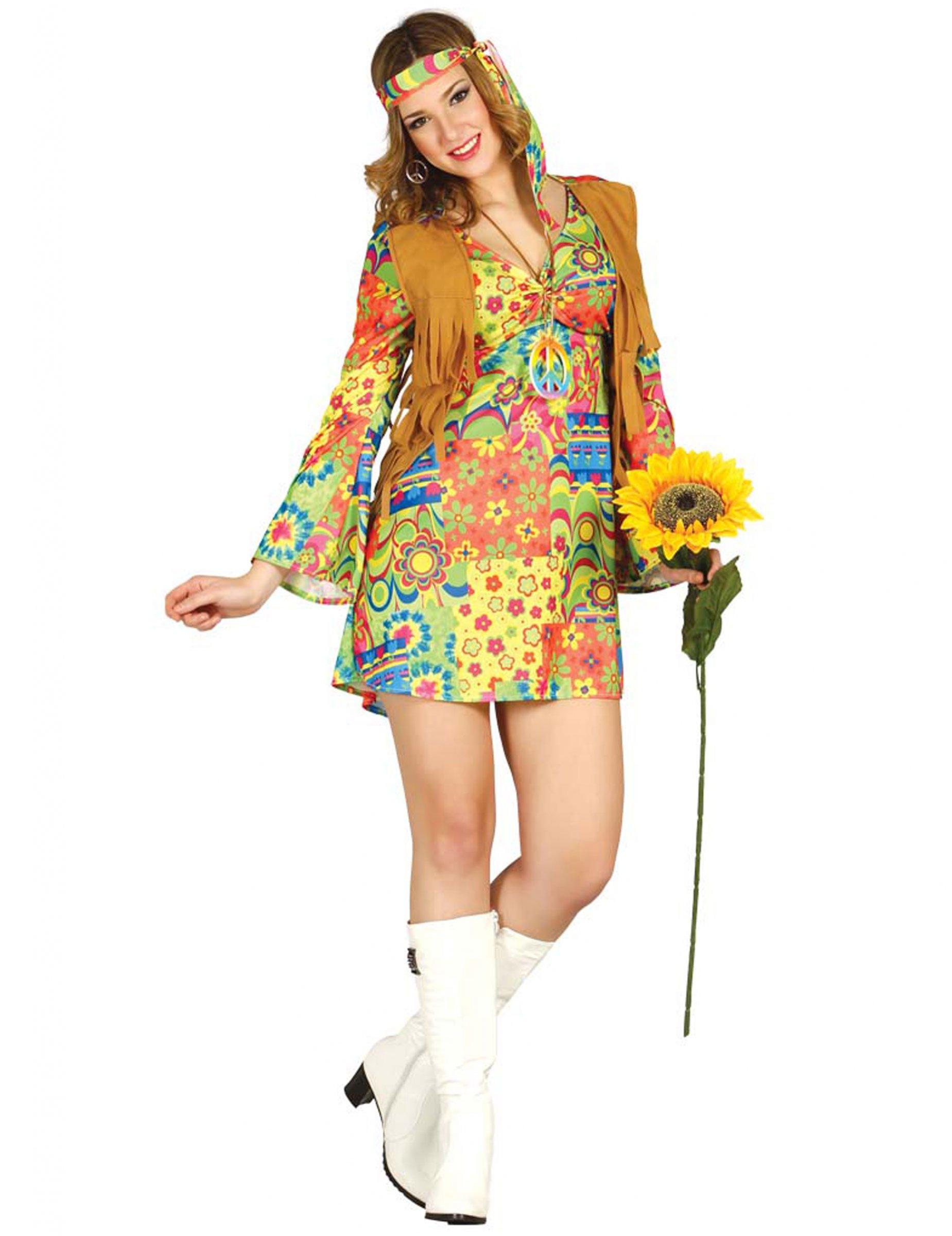 5243c6f698fd Costume da hippie con gilet per donna  Costumi adulti