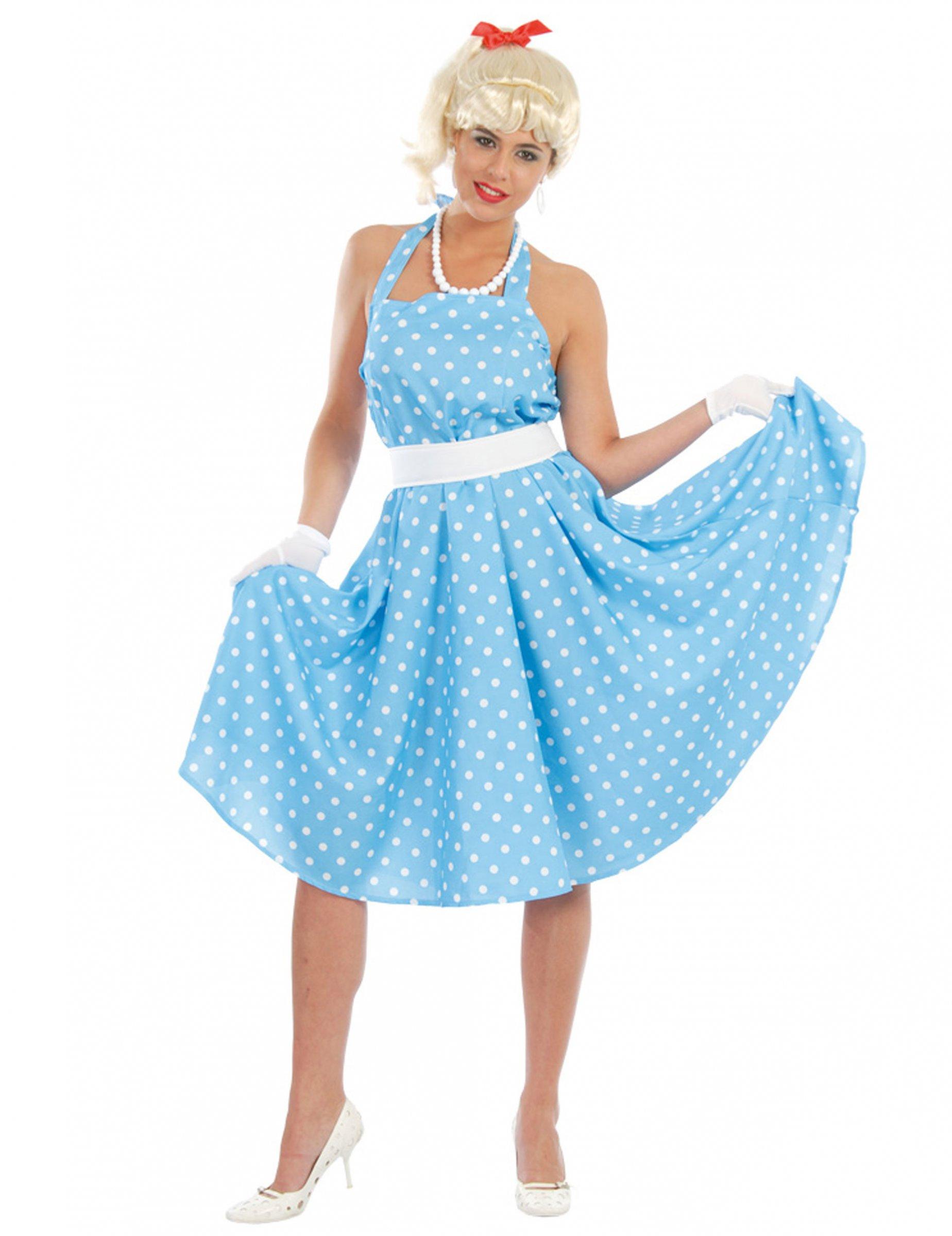 b66ad23ab8dc6 Costume anni 50 azzurro a pois per donna  Costumi adulti