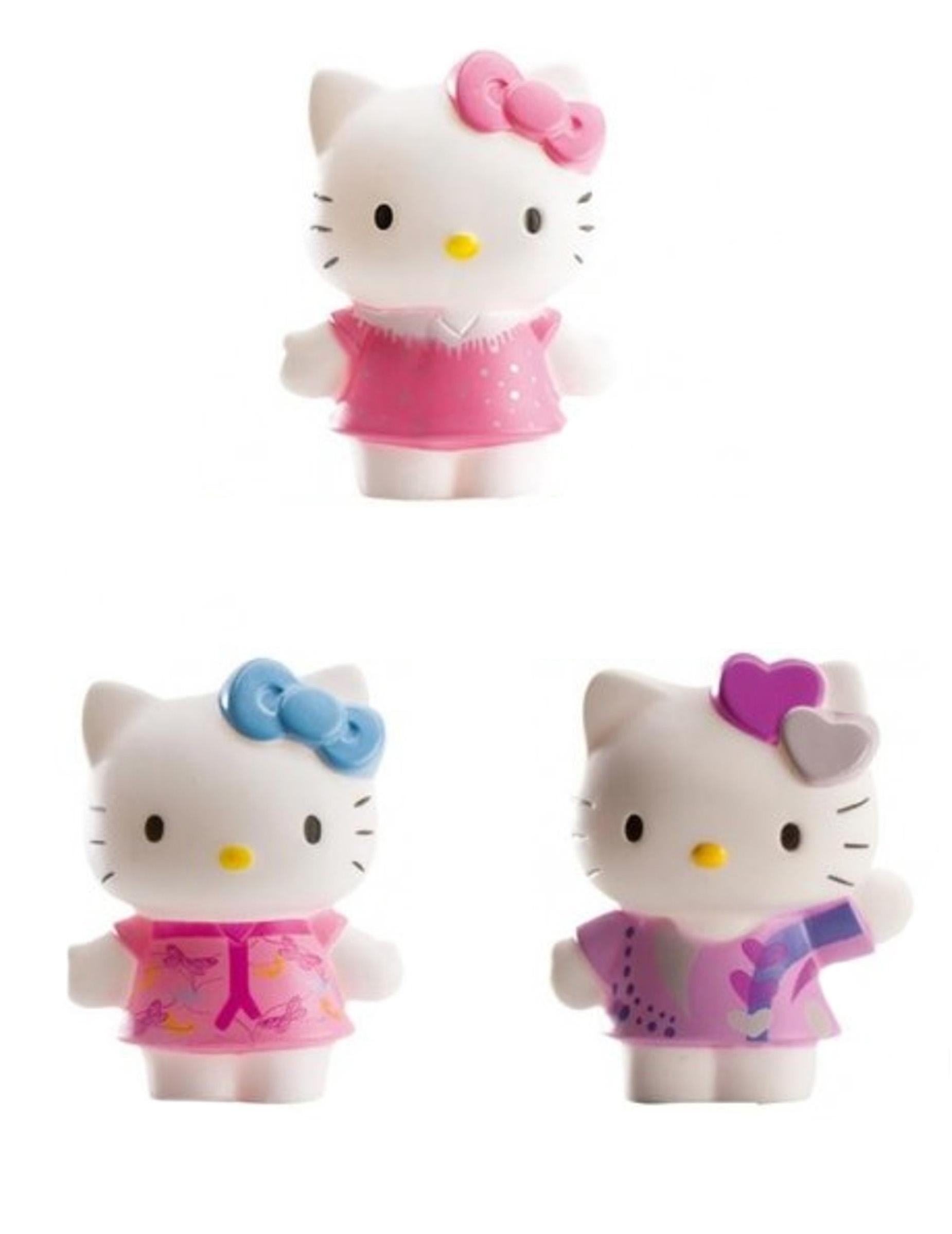 Kit di 3 stauette hello kitty ™ 7 cm: addobbi e vestiti di carnevale