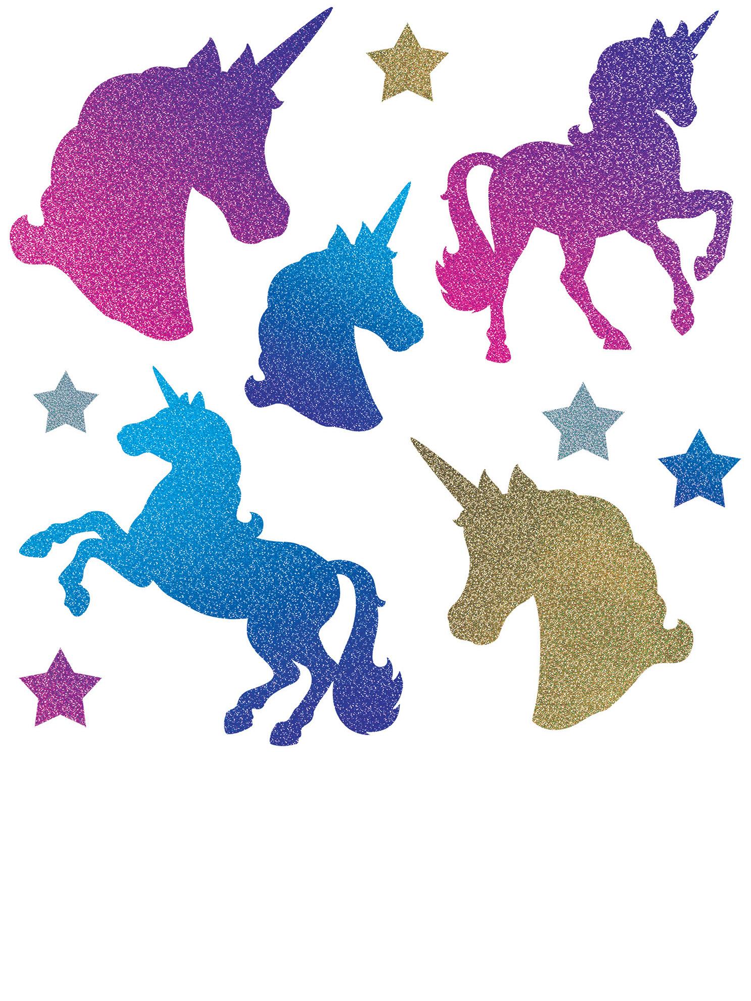 Ritagli unicorno in cartone con brillantini addobbi e