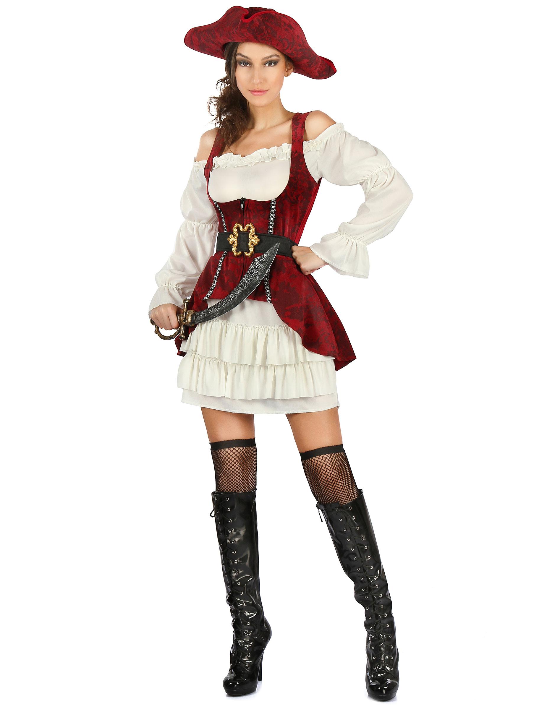 limpido in vista immagini dettagliate sezione speciale Costume da pirata bianco e rosso per donna