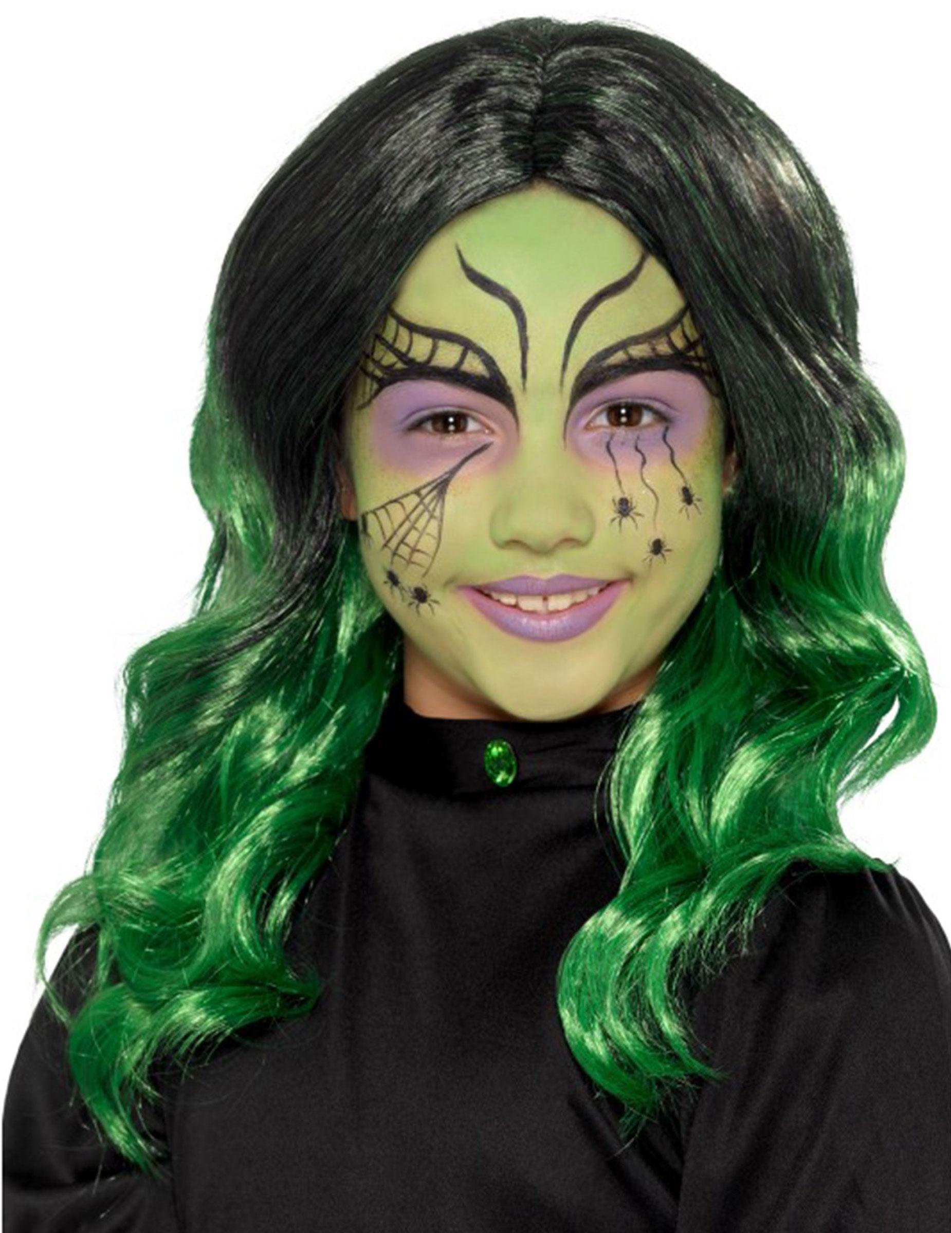 Parrucca da strega nera e verde per bambina  Parrucche e1bb7eed804c