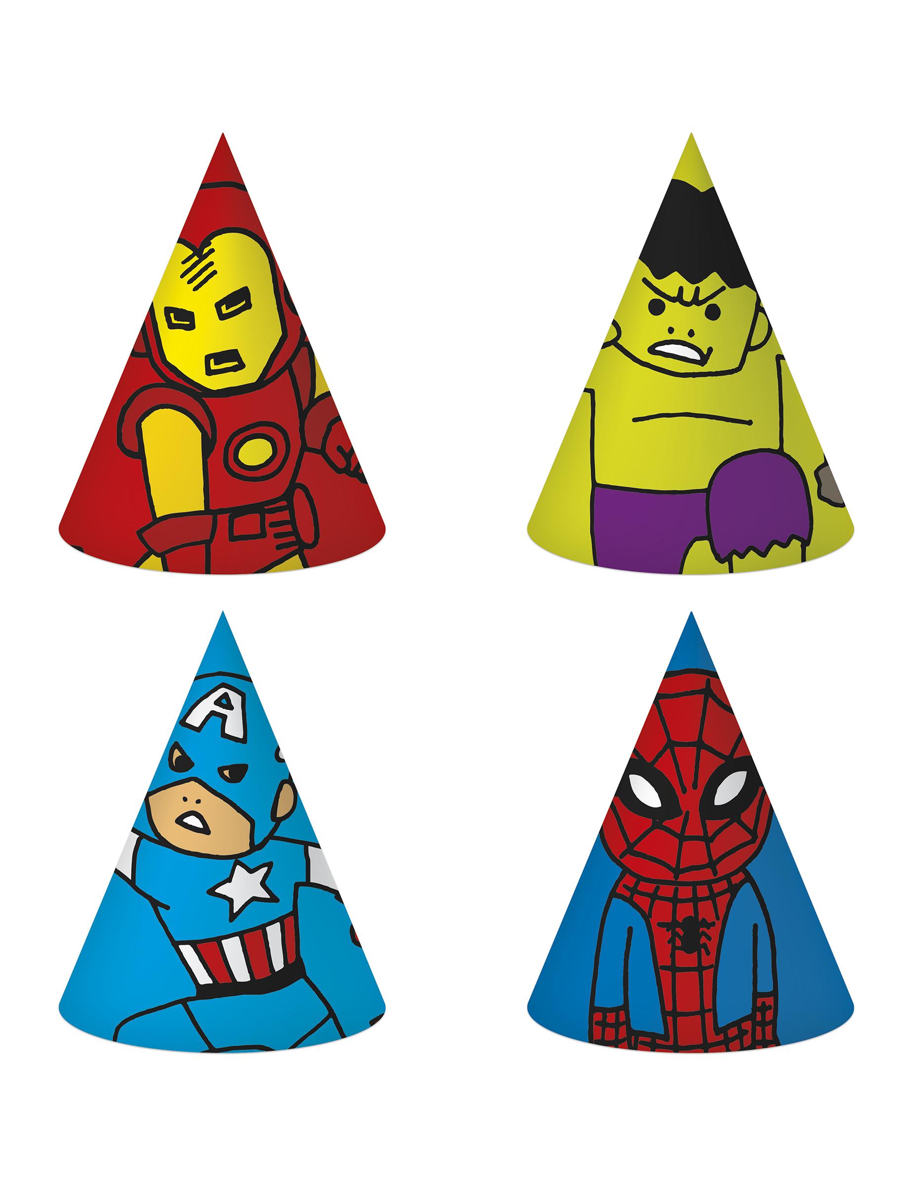 6 cappellini da festa di carta Avengers™  Addobbi 3c8bb33cb866