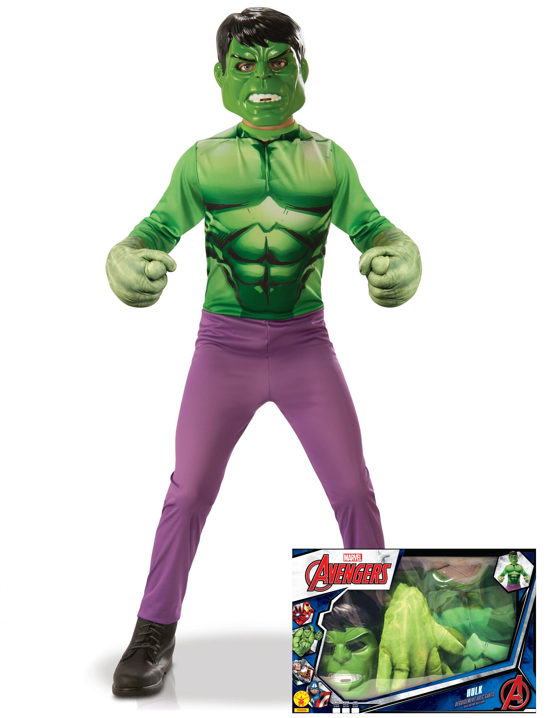 Cofanetto costume hulk™ per bambino con guanti giganti costumi