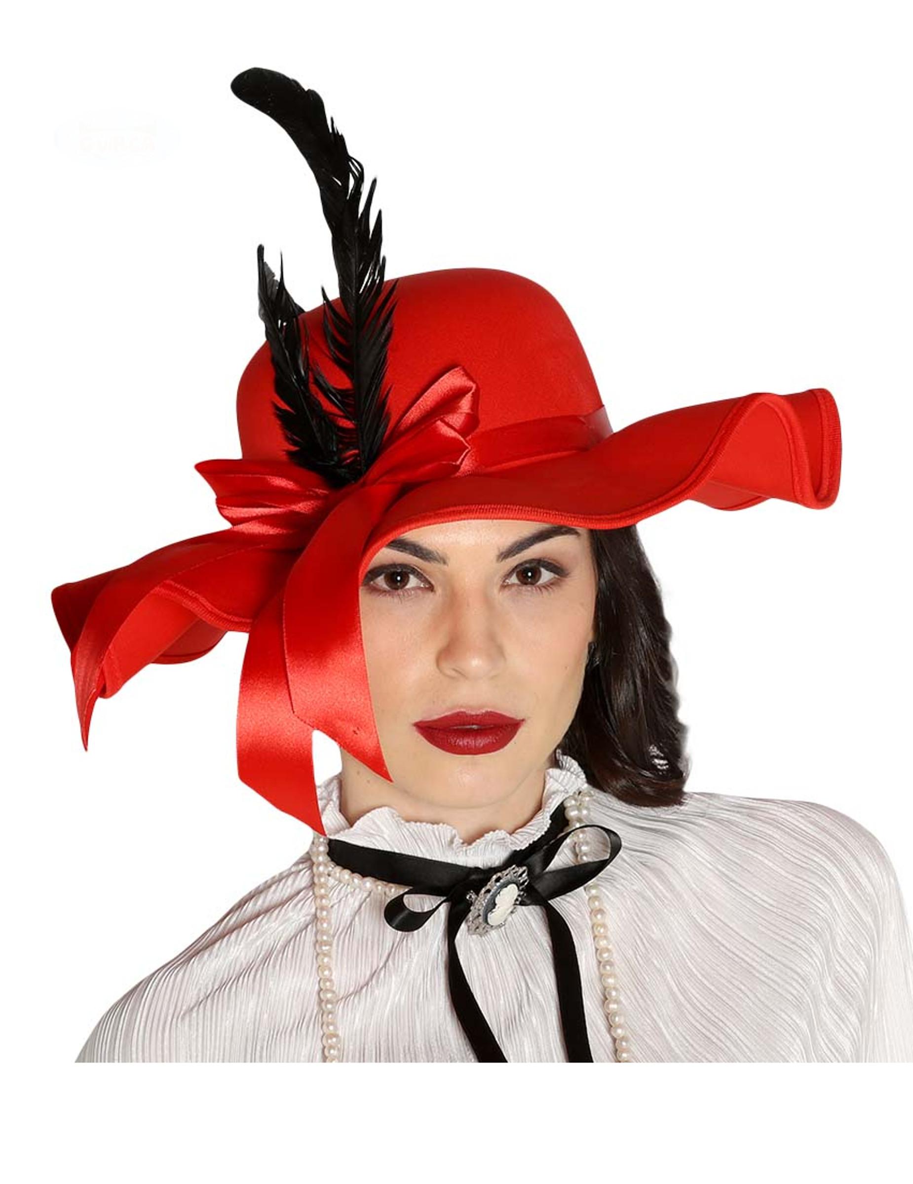 Cappello rosso con piume per donna: Cappelli,e vestiti di ...