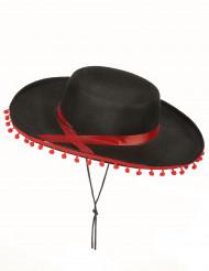 Cappello spagnolo nero e rosso