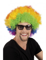 Parrucca afro disco clown multicolore adulti