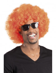 Parrucca afro disco clown arancione adulti