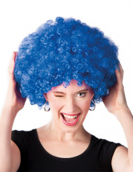 Parrucca afro disco clown blu adulti