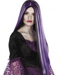 Parrucca nera e viola per Halloween donna