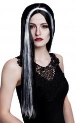 Parrucca da strega, nera e bianca da donna per Halloween