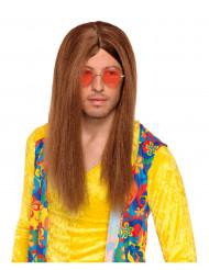 Parrucca hippy castana adulti