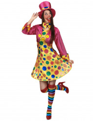 Costume clown donna con cappello rosa