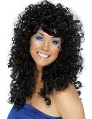 Parrucca nera crespa donna