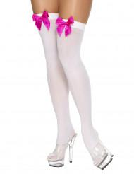 Calze autoreggenti bianche con fiocchetti rosa