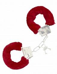 Manette con pelliccia rossa per adulto