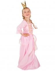 Costume principessa con corona dorata per bambina