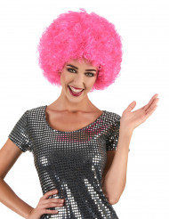 Parrucca afro/disco/clown rosa confort adulto