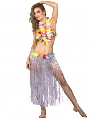 Image of Gonna hawaiana bianca adulto