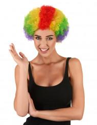 Parrucca afro da clown multicolore standard adulto