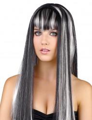 Parrucca lunga nera e bianca per donna