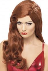 Parrucca lunga rossa charleston donna