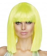 Parrucca caschetto media lunghezza giallo fluorescente donna