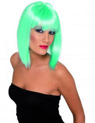 Parrucca media lunghezza turchese fluorescente donna